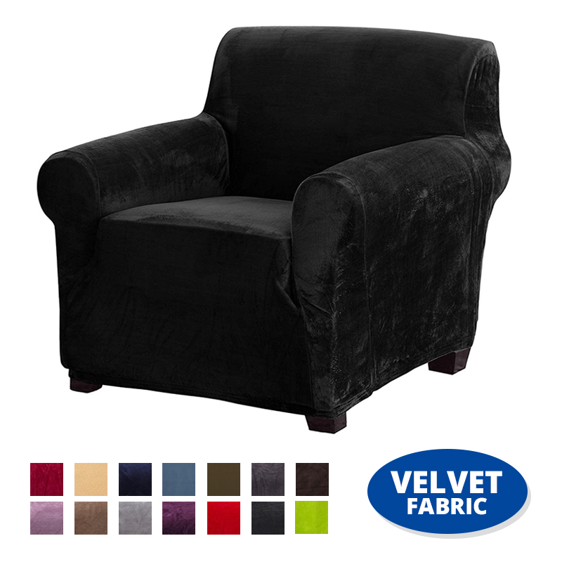Super Soft Velvet Elastic Cover for Armchair Stretch <font><b>Sofa</b></font> Cover Living Room Couch Slipcover for Armchairs Elastic <font><b>Sofa</b></font> Covers image