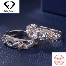 European and American Butterfly Wedding Platinum Zircon S925 Ring Female Rose Jewelry Leaf for Women Double Diamonds