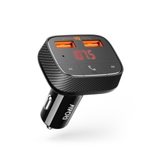 Anker Roav SmartCharge F0 Car Charger with FM Transmitter Bluetooth Receiver Bluetooth 4.2, 2 USB Ports, PowerIQ AUX Output