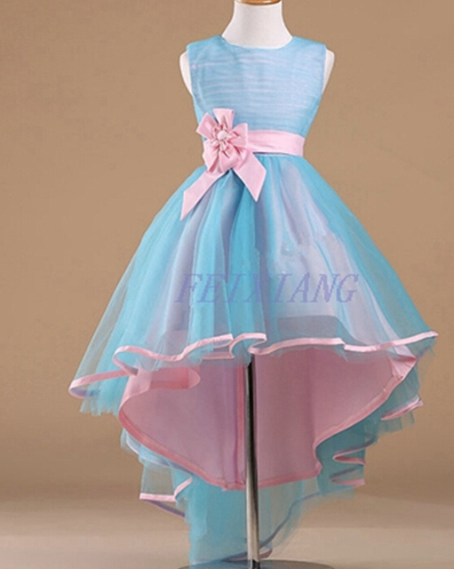 Children Dress For Wedding Party Blue Pink Elegant Flower Girl