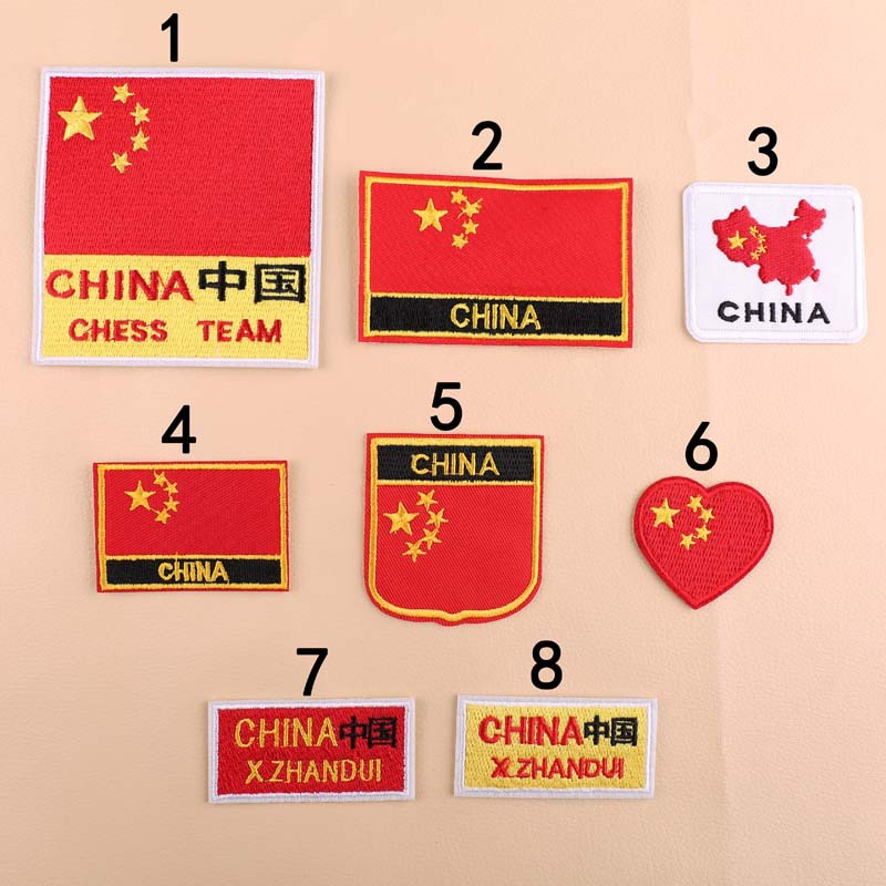 China Flag Red Colors Patchwork Patch Embroidered Patches For Clothing Iron On Close Shoes Bags Badges Embroidery