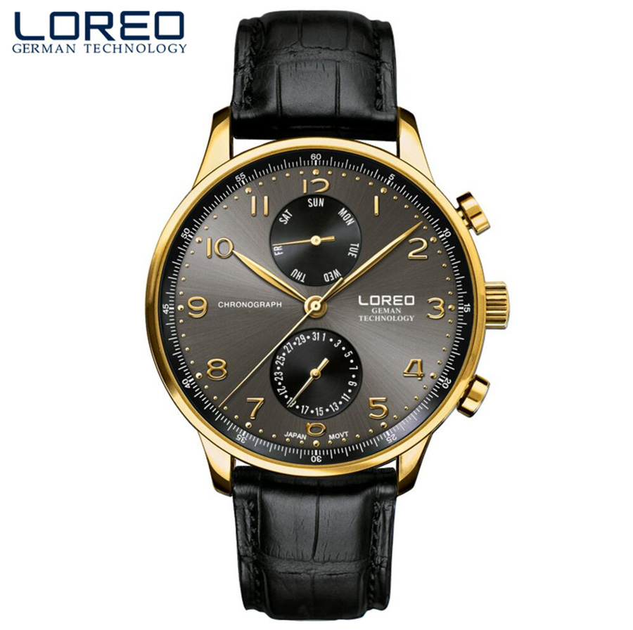 LOREO Swim Men Watches Top Brand Luxury Auto Date Hands Clock Man Business Casual Leather Strap Quartz Watch Male Waterproof 50M-in Quartz Watches from Watches    1