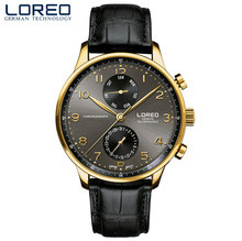 Loreo Плавание Для мужчин Часы Лидирующий бренд Luxury Auto Дата руки часы человек Бизнес Повседневное кожаный ремешок кварцевые часы мужской Водонепроницаемый 50 м