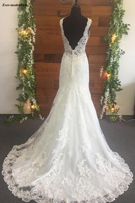 Image 5 - Mermaid Wedding Dresses 2019 Open Back V Neck Lace Appliques Beaded Sweep Train Illusion Top Sexy Bridal Gowns Robe De Mariee-in Wedding Dresses from Weddings & Events