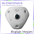 fast free shipping English Version DS-2CD6332FWD-IS 3MP Full HD 1080P PoE WDR 360 Degree Fisheye e-PTZ IP Camera  with aduio
