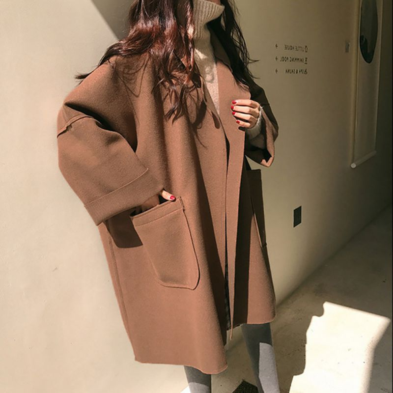 ROPALIA Women Autumn Winter Elegant Coat Mid-length Lapel Solid Color Loose Woolen Casual Long-sleeved   Trench