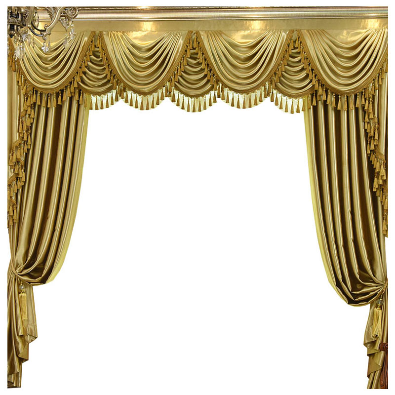 Custom curtains luxury High grade European living room solid gold thick bedroom blackout curtain tulle valance drape B466