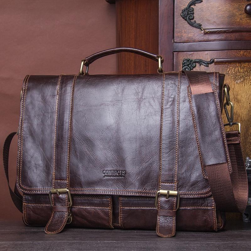 CONTACT'S 2019 Men Retro Briefcase Business Shoulder Bag Leather Handbag Bag Computer Laptop Messenger Bags Men's Travel Bags 5