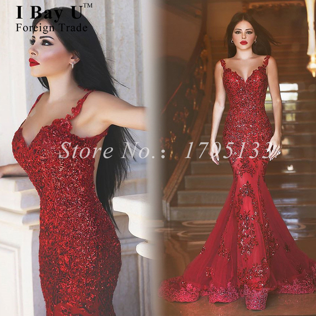 Red Mermaid Prom Dress Sparkly Long Fitted Mermaid Dresses 2016 ...