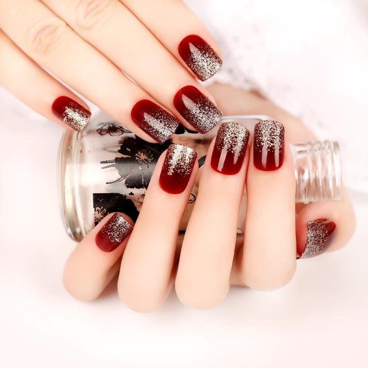 YuNail/rain dark wine red gradient glitter fake nails finished ...