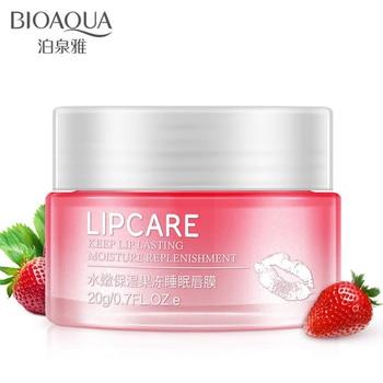 BIOAQUA Strawberry Lip Sleeping Mask Exfoliator Lips Balm Moisturizer Nourish Lip Plumper Enhancer Vitamin Skin Care Night Cream