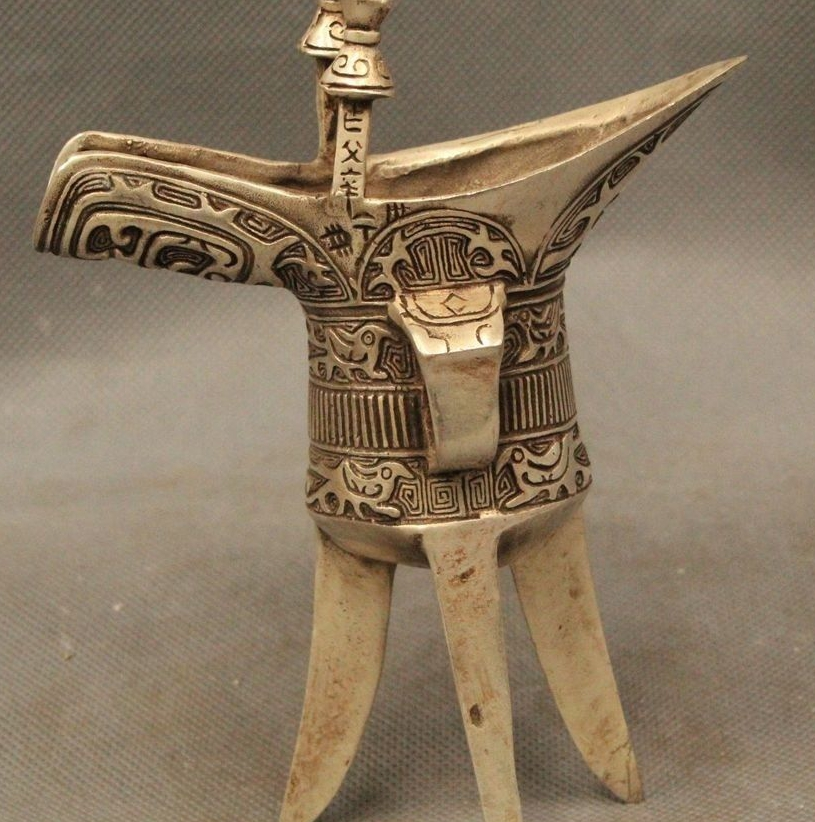 China Chinese Dynasty Palace <font><b>Silver</b></font> emperor 3 Legs Dragon Head Wine <font><b>Cup</b></font> Goblet