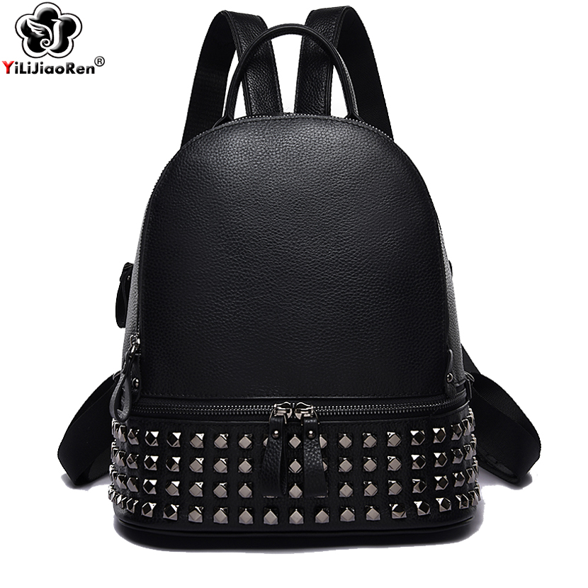 Fashion Rivet Women Backpack Brand Genuine Leather Backpack Purse Large Capacity School Bag Bookbag Designer Simple Back Pack