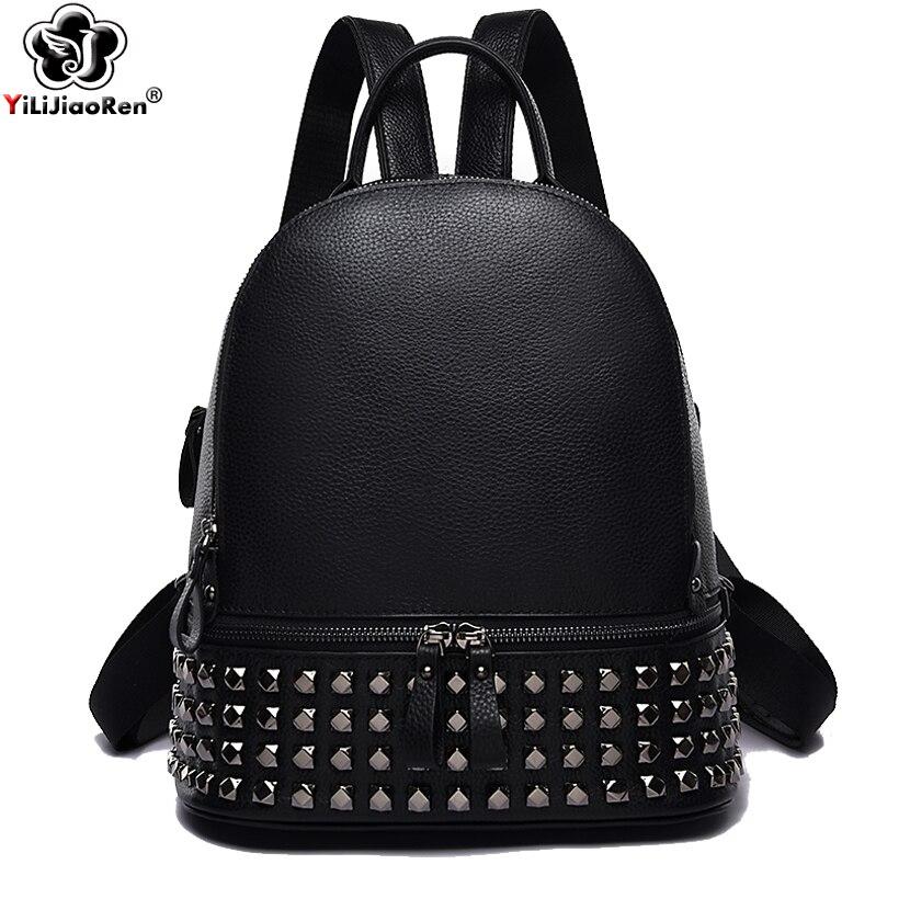 Mode Rivet femmes sac à dos marque en cuir véritable sac à dos sac à main grande capacité sac d'école sac à dos Designer Simple sac à dos