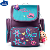 Brand Delune Girls School Bags Floral Butterfly Appliques Kids Waterproof Orthopedic Backpack School Bag Mochila Infantil 1 003