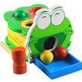 Детские игрушки деревянные оптово-мультфильм животных лягушка сбил настольная игра с мячом обучения в раннем возрасте монтессори материала ребенок подарок
