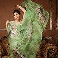 Fina de alta calidad 100% moda señora de Las Mujeres de seda verdadero de la bufanda del Mantón de hijab bufandas Largas Primavera Verano Femenino protector solar