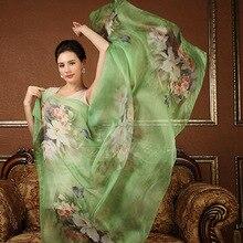 Высокое качество тонкий 100% натурального шелка шарф Шаль wrap хиджаб Женщины леди мода Длинные шарфы Женские Весна Лето солнцезащитный крем