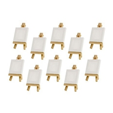 10 Sets Mini Display Easel With Canvas 8X8Cm Wedding Table Numbers Painting Hobby Craft Diy Drawing Small