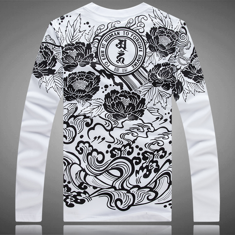 Men's Printing T Shirts Men Casual Floral Tee Long Sleeve