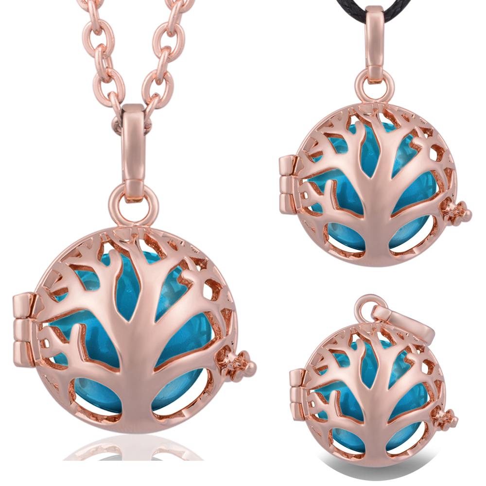 Color harmony online - 3pcs Family Tree Rose Gold Color Harmony Bola Cage With 18mm Blue Color Chime Ball Pregnancy