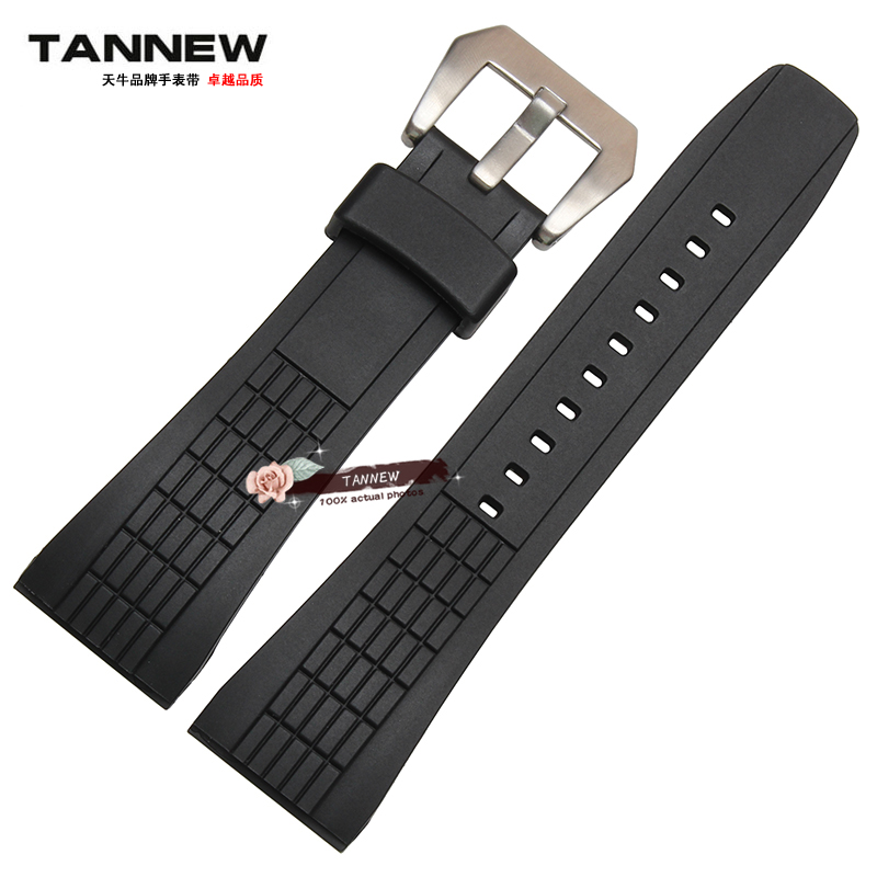 Watch accessories silicone strap 26mm black rubber strap M applicable seiko VELATURA series for men quality silicone with buckle