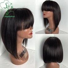 7A Short cut wigs12inch bob lace front wigs/glueless full lace human hair wigs with bangs Brazlilian virgin hair for black women