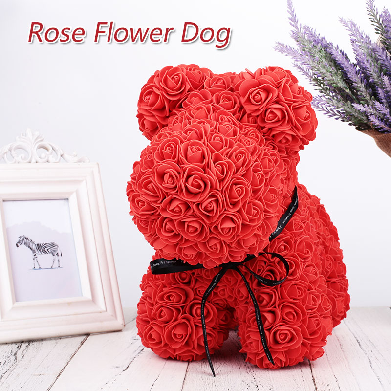 Rose Bear Toys Women Girls Flower Birthday Party Valentine Wedding Romantic Doll Gifts 2019 New Valentines Day Present Cleansers