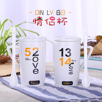 350ml Creative Ceramic Mugs Couples mugs Simple Fashion Coffee Milk mugs Individuals Office mugs with Covers