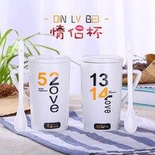 350 ml Tazas De Cerámica Creativa Parejas tazas Simple Moda Café Leche tazas Individuos Oficina tazas con Tapa cuchara