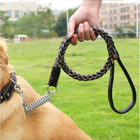 Adjustable Leather Dog Leash Dog Collar High Quality Large Dogs Spring Metal Buckle Leashes Large Pet Dogs Supplies 110CM