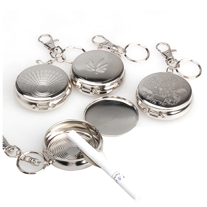 Outdoor EDC tool safe survival kit Pocket Stainless Steel Portable Round Cigarette Ashtray With Keychain sport camping hiking
