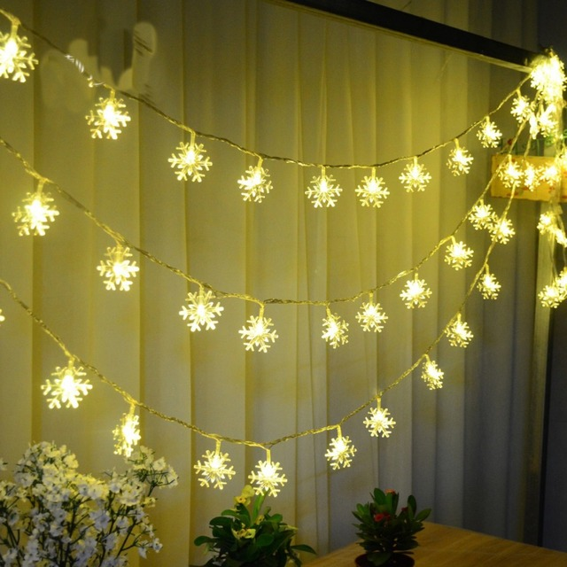 4m28pcs 220v Free Shipping Warm White Led Snow String Garland Christmas Lights For Party Wedding Luminaria Decoration Lamps In Led String From Lights