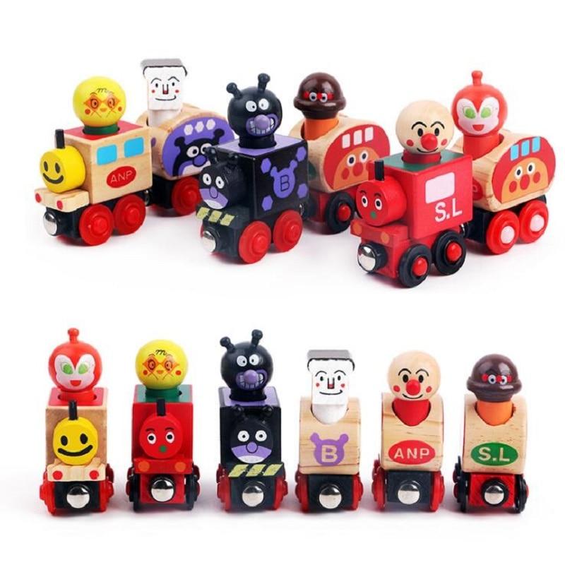 Houten Magnetische Trein 6 Stks / set Anpanman Thomas Speelgoed Voor Kinderen Voertuig Blokken Oyuncak Speelgoed Brinquedos Juguetes