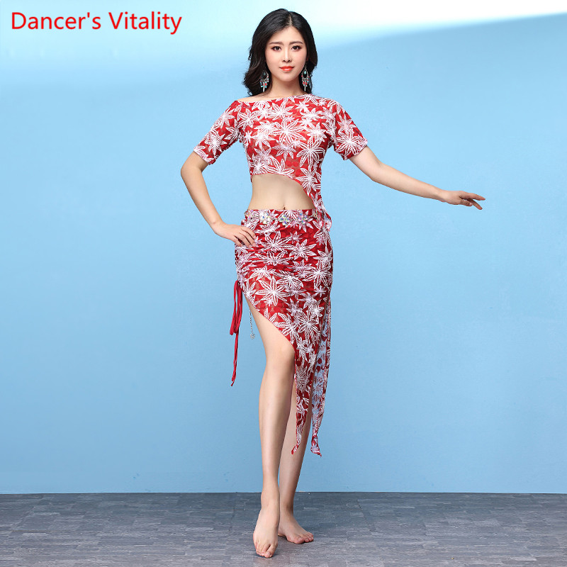 Belly Dance Costume Lace 2 Piece Oriental Women Practice Dance Clothing Short Sleeve Top Side Slit Skirt Red Black M L