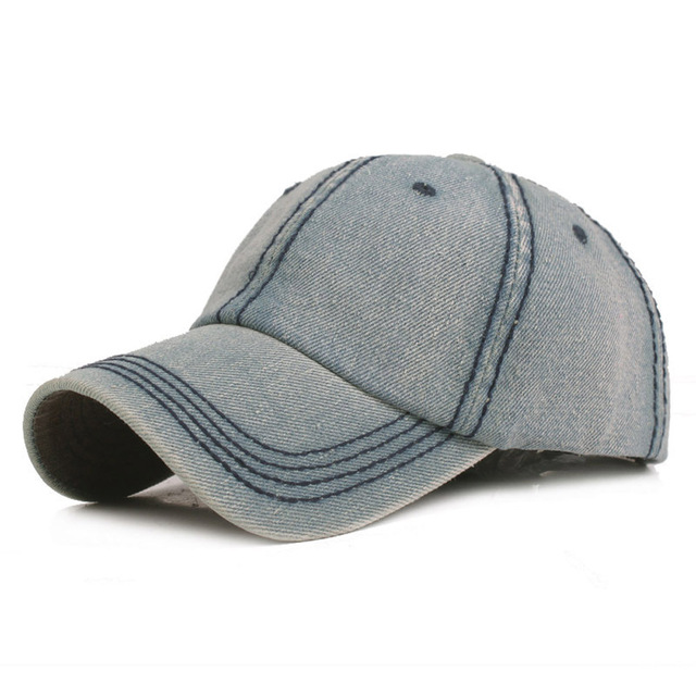 Men's Simple Adjustable Hats Classic Baseball Cap Denim Visor Hat Solid Color