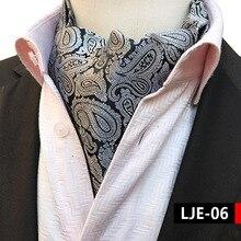 2018 Paisley Silk Men Grey Ascot Cravat Scrunch Self British  Jacquard Neckties Woven Shirt Elegant Quality Microfibra