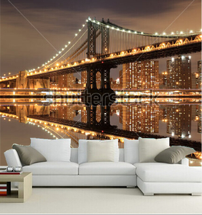 online-shop benutzerdefinierte 3d wandbilder, manhattan brücke und, Wohnzimmer