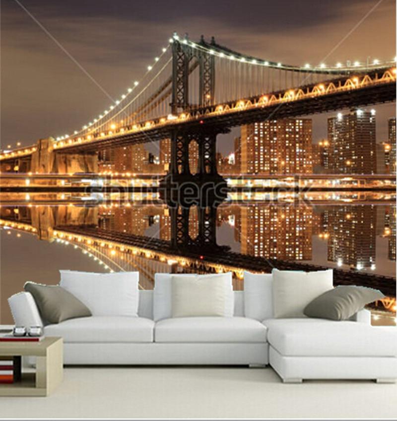 Custom 3D murals,Manhattan Bridge and Manhattan skyline At Night,New York City,living room sofa TV wall bedroom wall paper