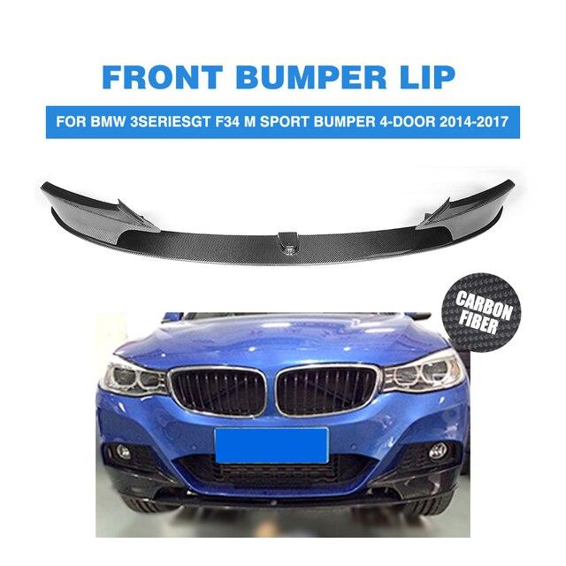 Carbon Fiber Front Bumper Lip Spoiler Splitters Apron for BMW 3 Series GT F34 M Sport Bumper 4-Door 2014-2017 Car Style