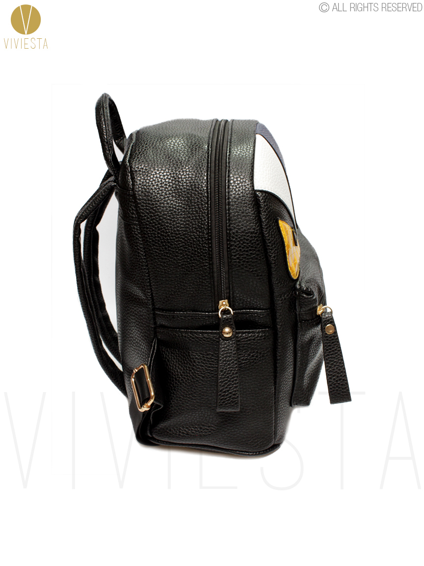 b65e992a20f2 MONSTER PU LEATHER BACKPACK Women s Men s Fashion Stylish Trendy Designer  Famous Brand Color Block Devil Cartoon School Bag-in Backpacks from Luggage    Bags ...