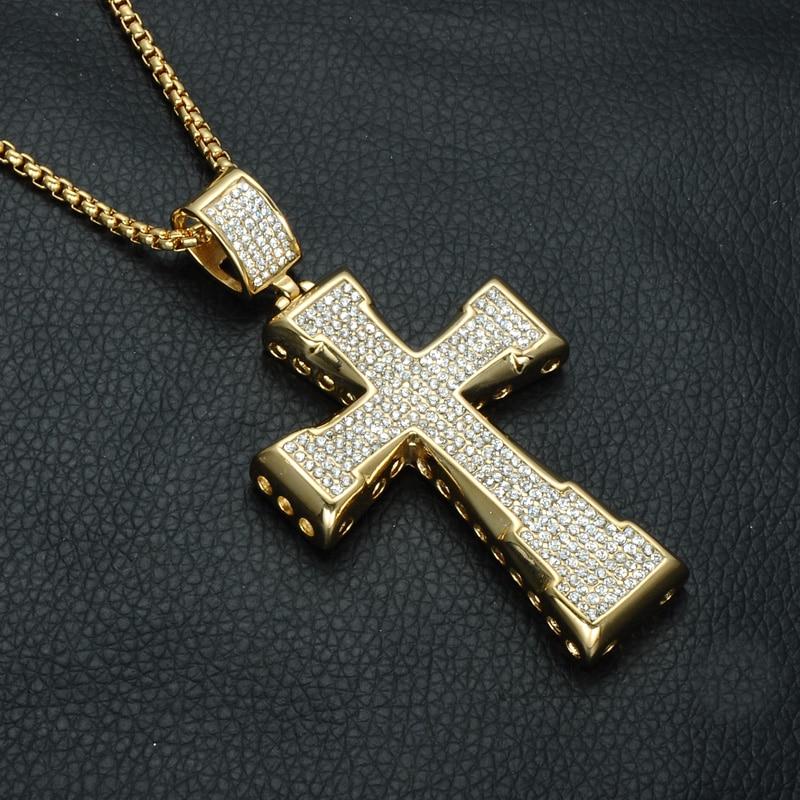 D & Z Bling Iced Out Kristall Kreuz Anhänger Halskette Gold Farbe Edelstahl Kruzifix Kolye Für Männer Religiöse Schmuck