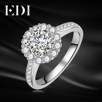 EDI Classic Halo 14K 585 White Gold Moissanites Diamond Wedding Rings For Women Engagement Bands Fine Jewelry
