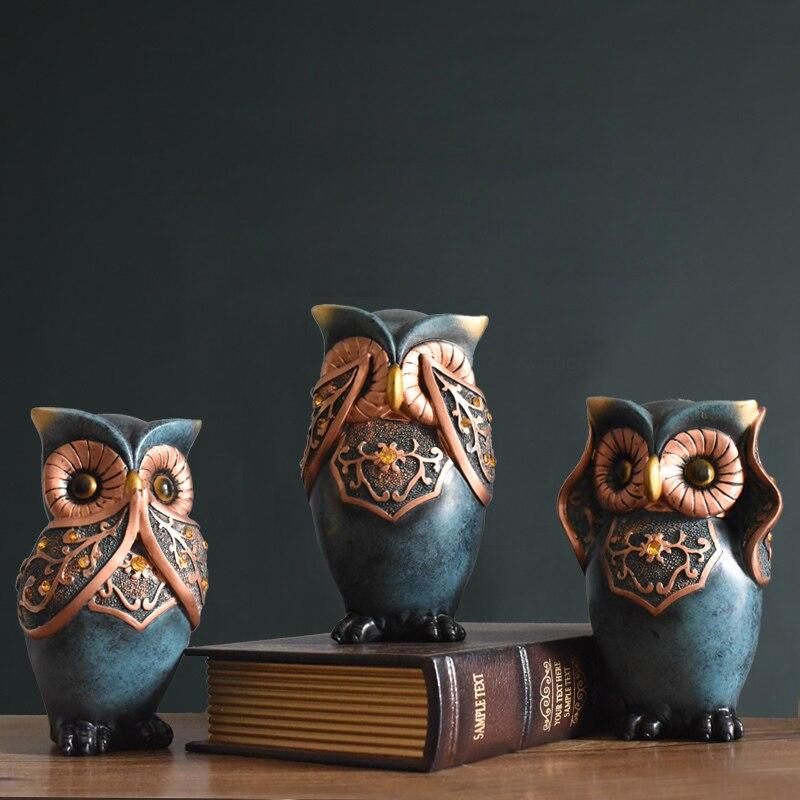 Rétro nostalgique hibou Arts résine artisanat créatif Animal miniature figurines fée jardin accessoires fengshui décoration de la maison