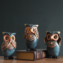 Retro Nostalgic Owl Arts Resin Crafts Creative Animal miniature figurines Fairy Garden accessories fengshui home decoration