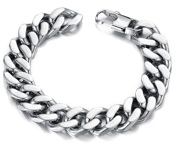 cool simple design health surgical grade titanium steel jewelry cheap silver white gold color bracelet for men