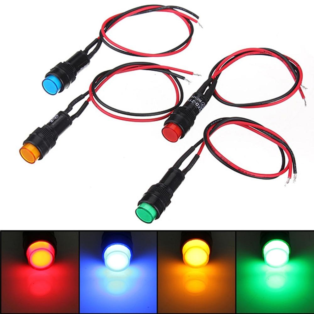 12V 14mm LED Dash Pilot Panel Indicator Warning Light Lamp for Car / Boat / Lorry / Truck