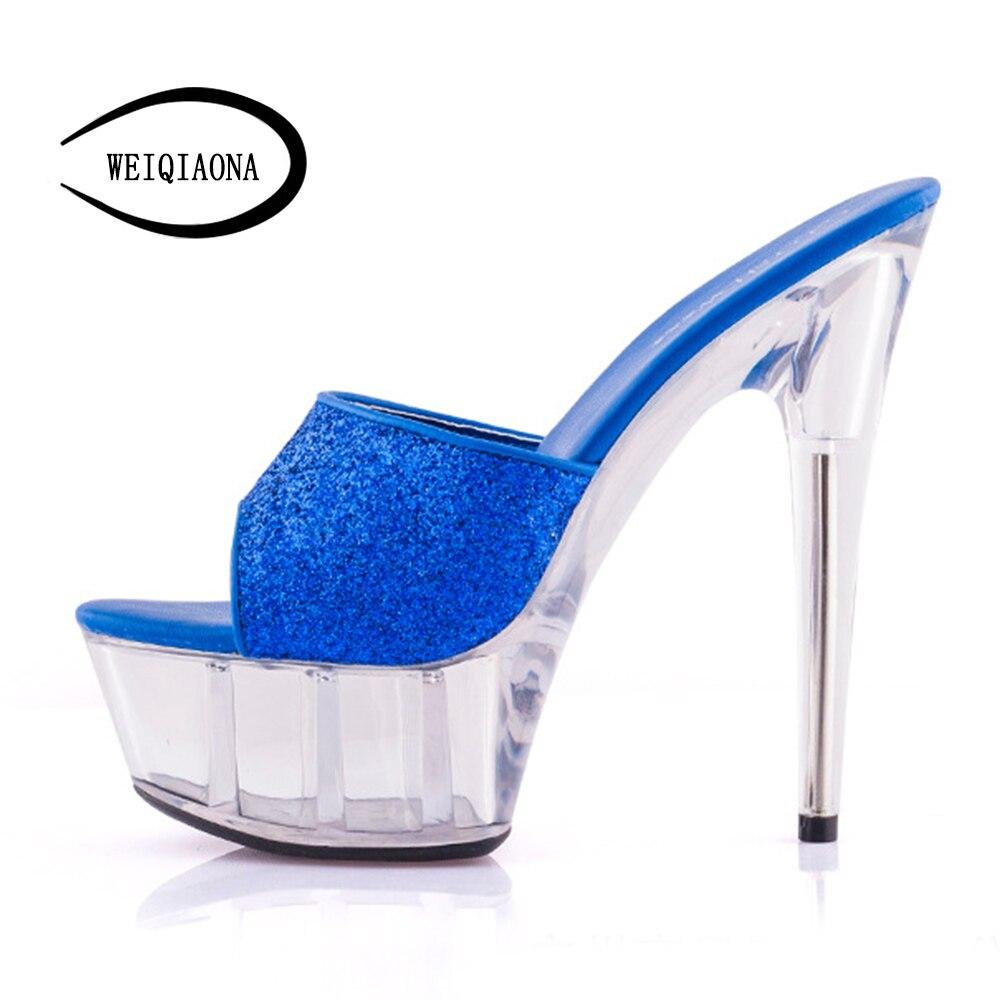 fe1f55d62bb Negro Weiqiaona Extremadamente Altos Bombas Peep Mujeres De Plata Sandalias  Zapatos Novia Moda marfil Tacones Mujer ...