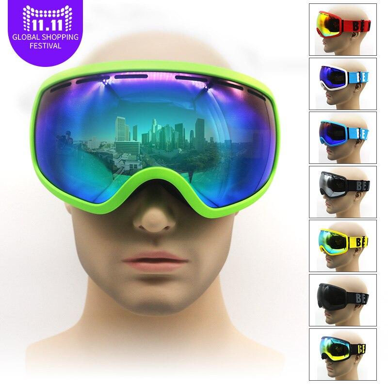 Профессиональный снег очки с двойными объектива противотуманные UV400 большой вид большой сферические мужские и женские лыжные очки для взро...