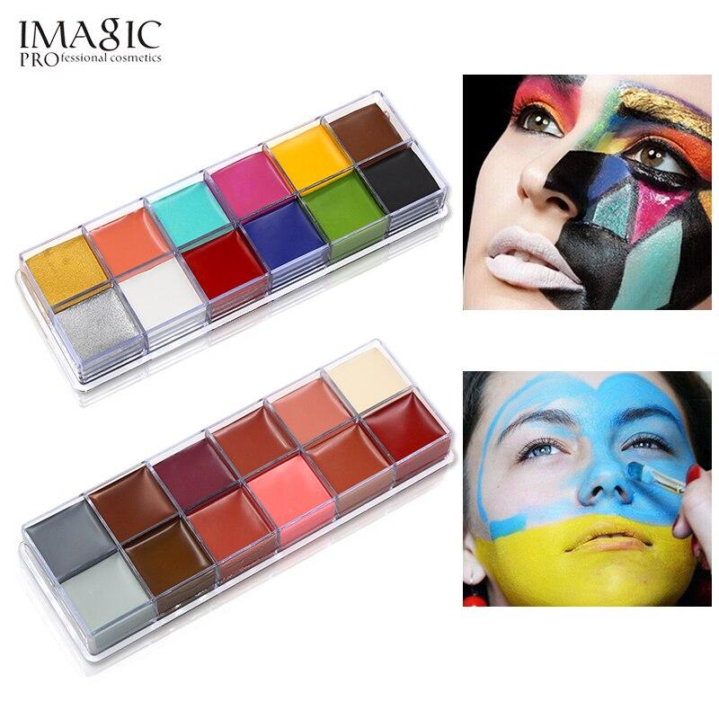 IMAGIC 12 цветов, краска для тела, татуировка, профессиональная вспышка, картина для лица, живопись маслом, макияж для вечеринки по случаю Хэллоу...